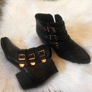 New buckle studded booties